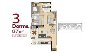 planta 3 dormitórios 87m²