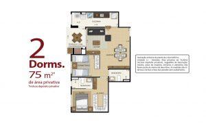 planta 2 dormitórios 75m²
