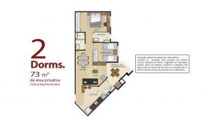 planta 2 dormitórios 73 m²